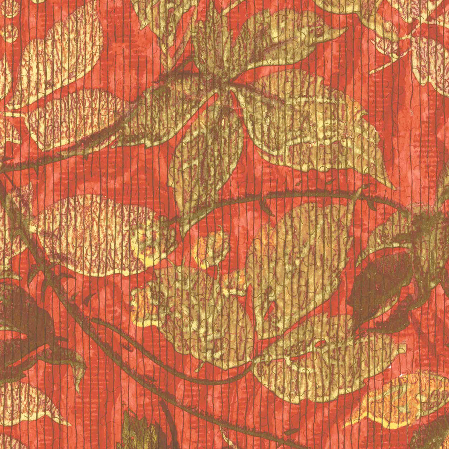 Tropic Coral Red Botanical Wallpaper