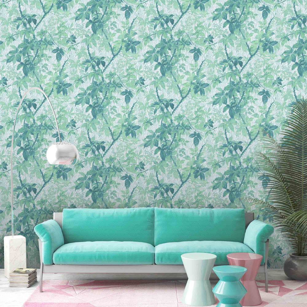 Tropic Mint Botanical Wallpaper