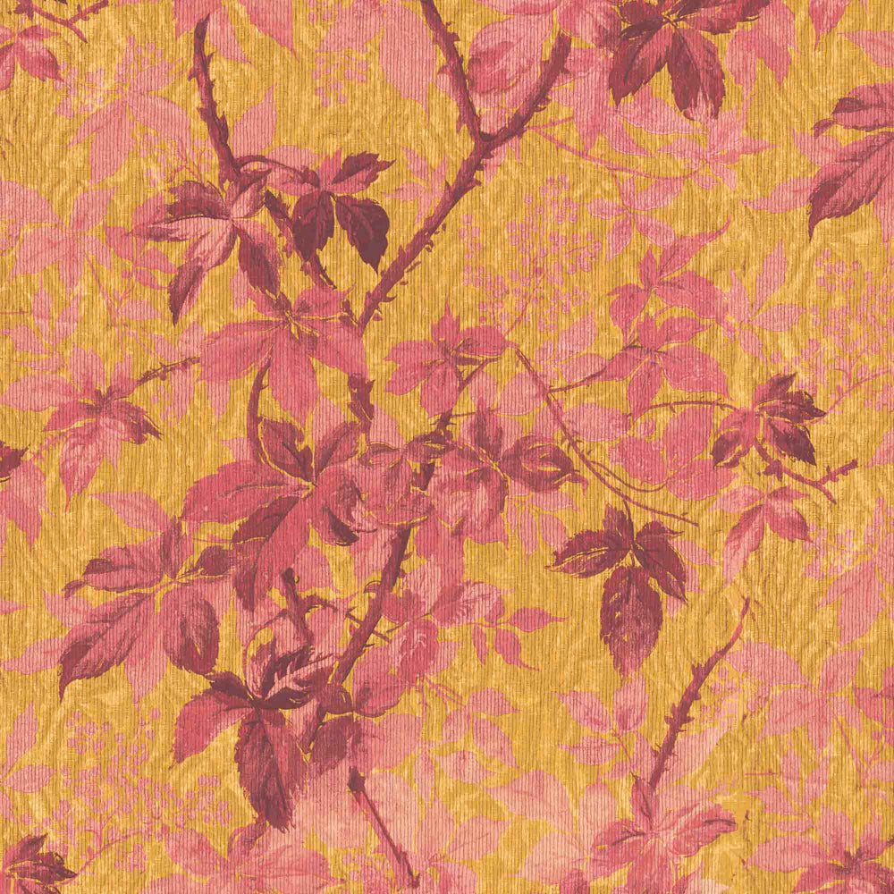 Tropic Sunset Orange Botanical Wallpaper