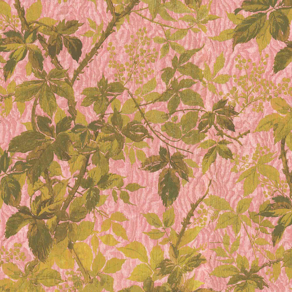 Tropic Sunset Pink Botanical Wallpaper
