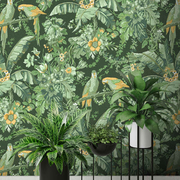 Parrot Talk Lush Green Wallpaper
