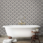 Betsy Fan Large in Charcoal Cream Wallpaper