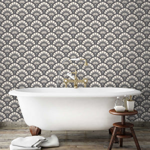 Betsy Fan Large in Charcoal Cream Wallpaper By Pearl Lowe