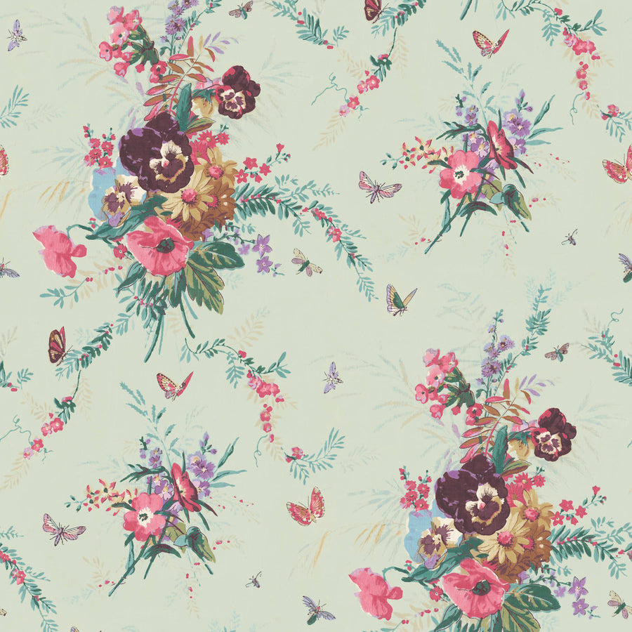 Violas and Butterflies Mint Wallpaper