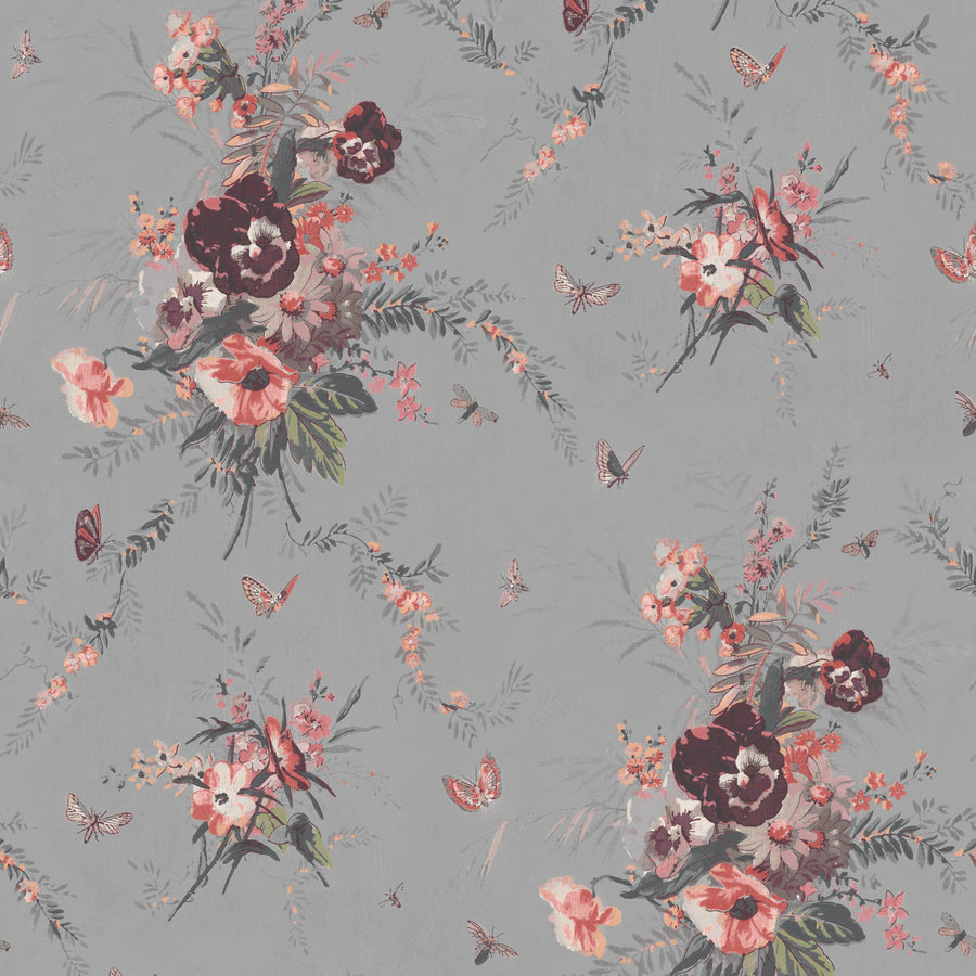 Violas and Butterflies Grey Wallpaper