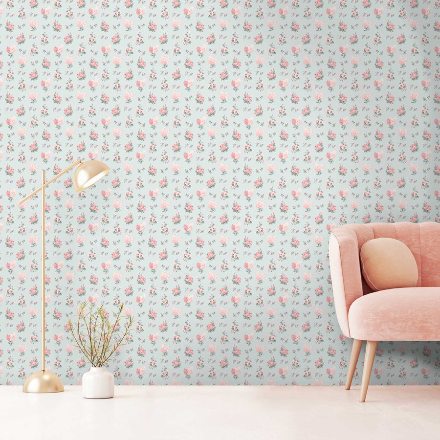 Posies in Mint Wallpaper