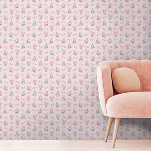 Posies in Pale Pink Wallpaper