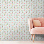 Posies in Pale Green Wallpaper