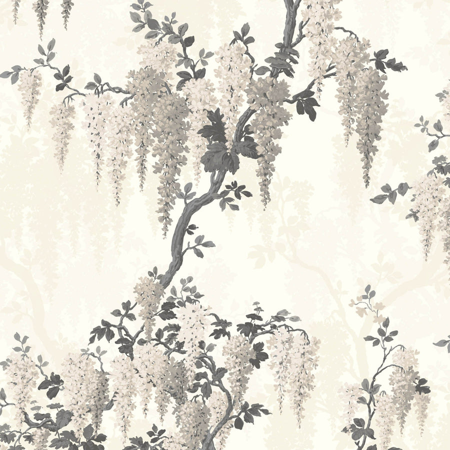 Wisteria Floral wallpaper in Linen Wallpaper By Pearl Lowe