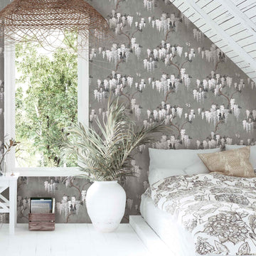 Wisteria in Latte/Slate Grey Wallpaper By Pearl Lowe