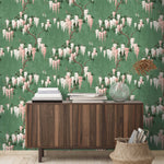 Wisteria in Botanical Green Floral Wallpaper