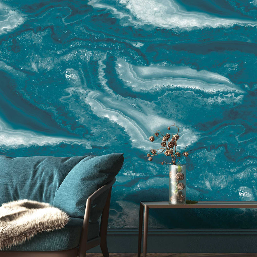 Imagate Agate Teal Wall Mural By Woodchip & Magnolia