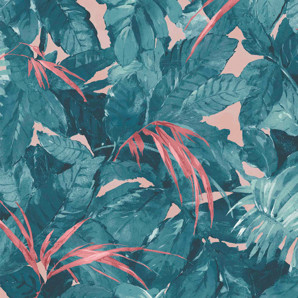 Lush Teal/Coral Wallpaper