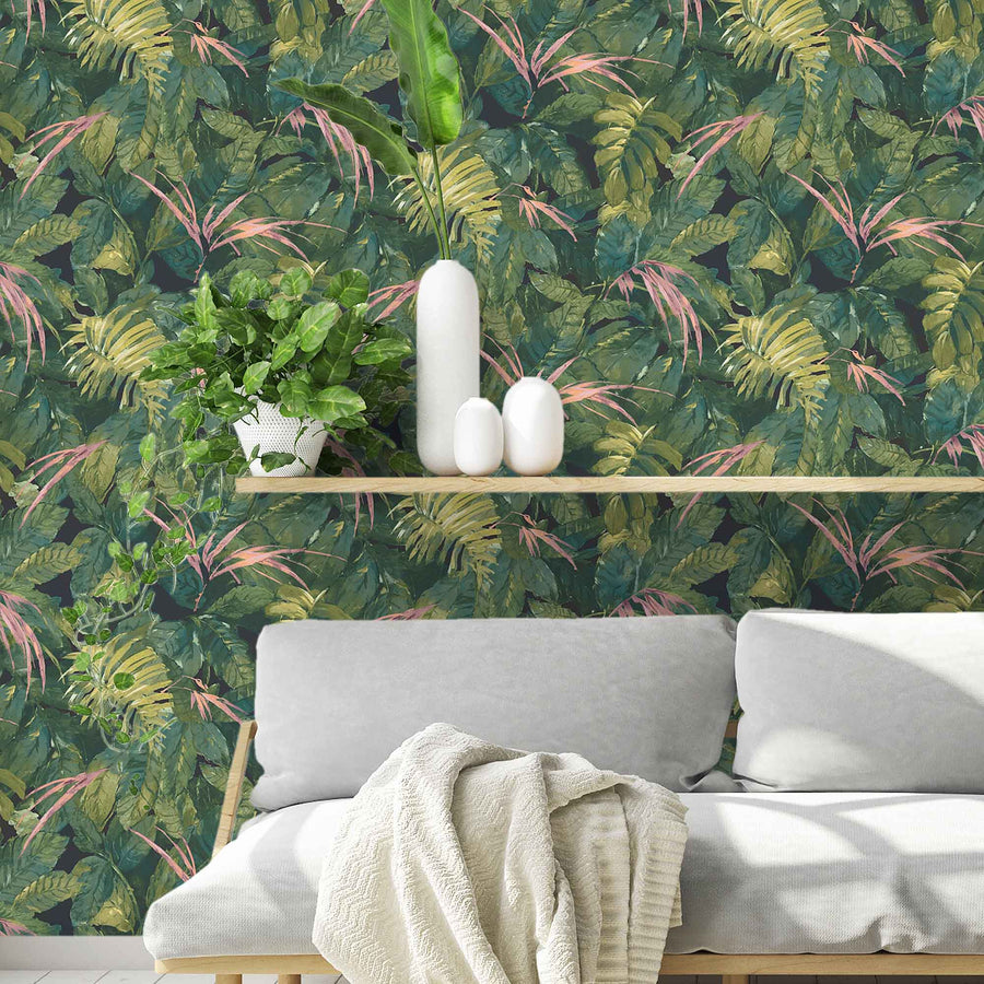 Lush Green/Pink Wallpaper