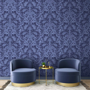 Fearless Serpent Damask Deep Blue Wallpaper By Woodchip & Magnolia