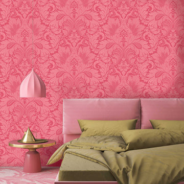 Fearless Cheeky Pink Damask Wallpaper