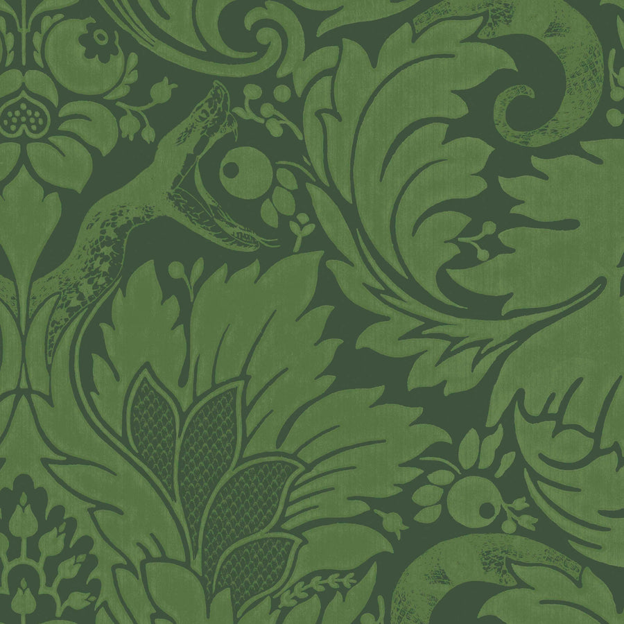 Fearless Eden Green Damask Wallpaper