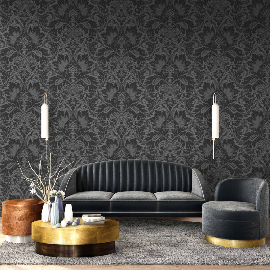 Fearless Midnight Noir Damask Wallpaper