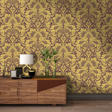 Fearless Damask Ochre Wallpaper