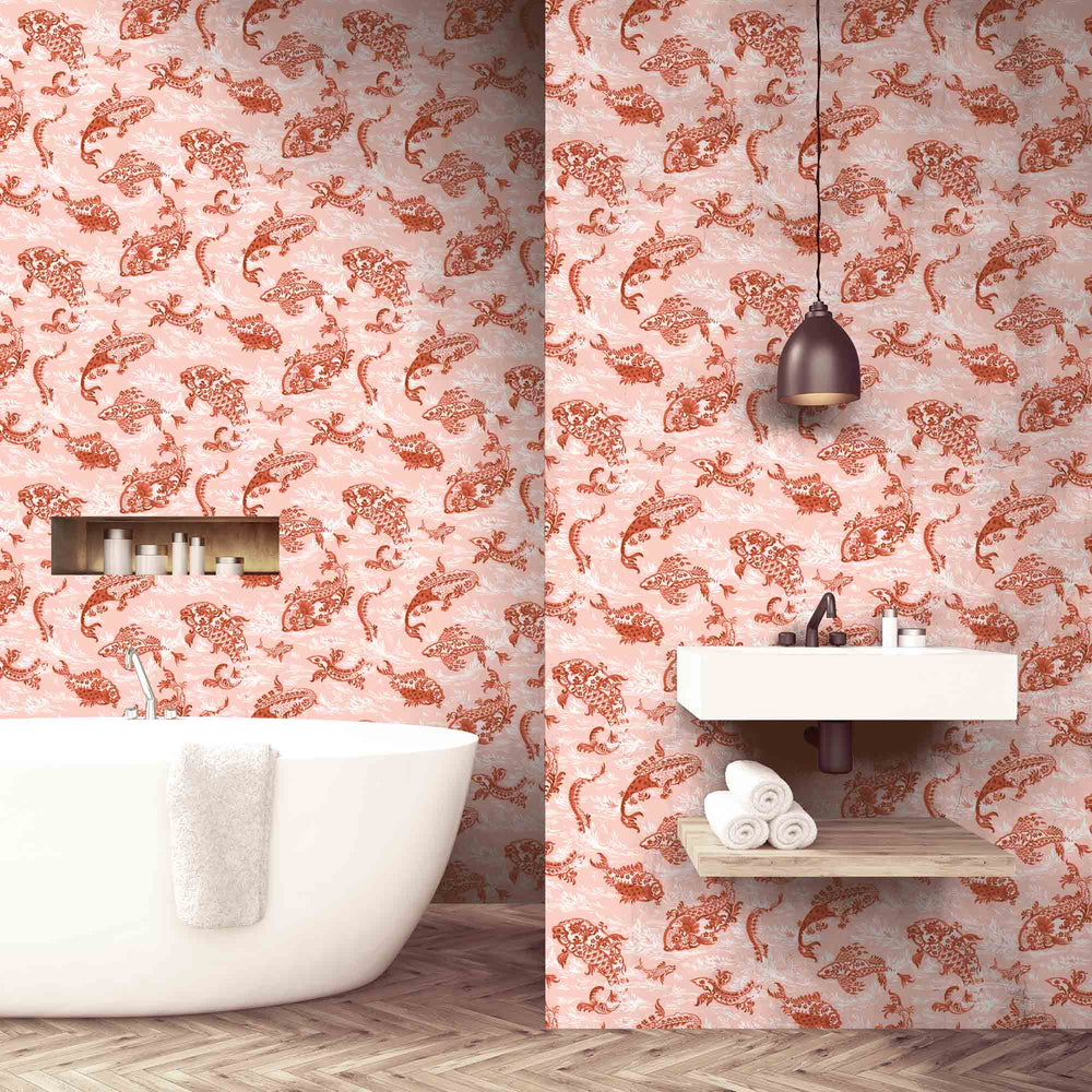 Magical Lagoon Blush Pink/ Sunset Orange Wallpaper