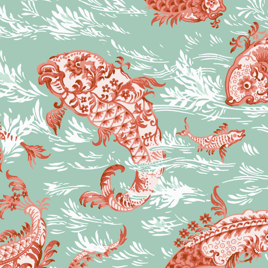 Magical Lagoon Mint/Orange Wallpaper