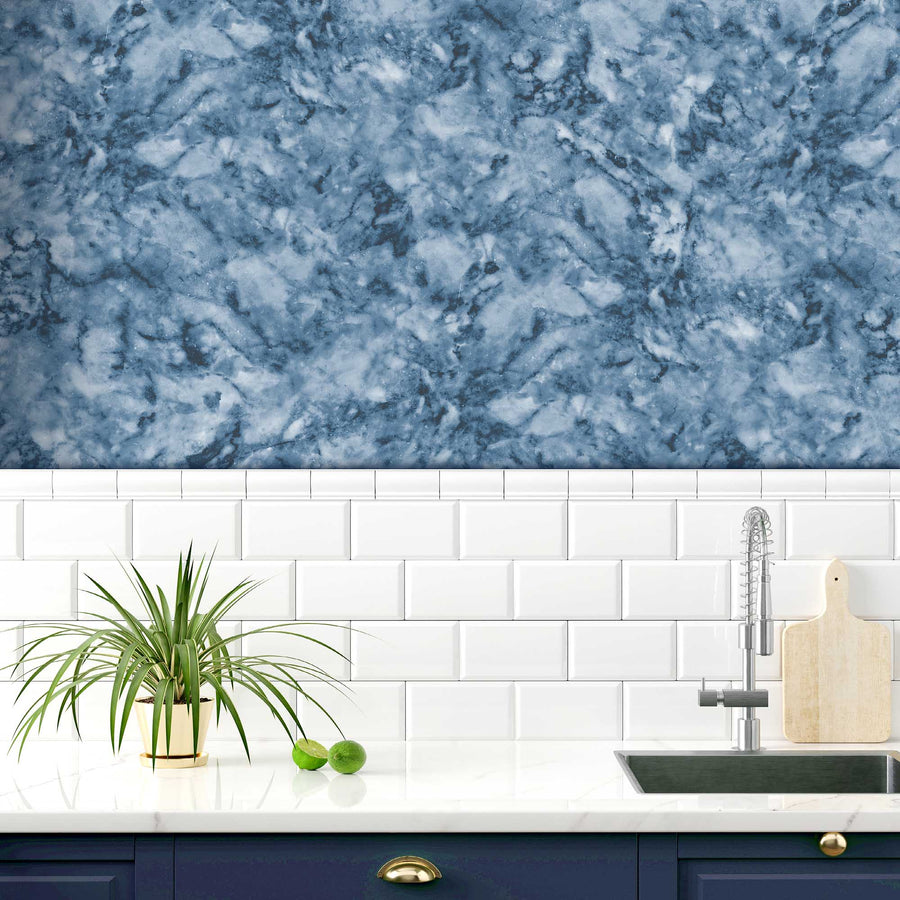Faux Marble Effect Deep Dark Blue Wallpaper