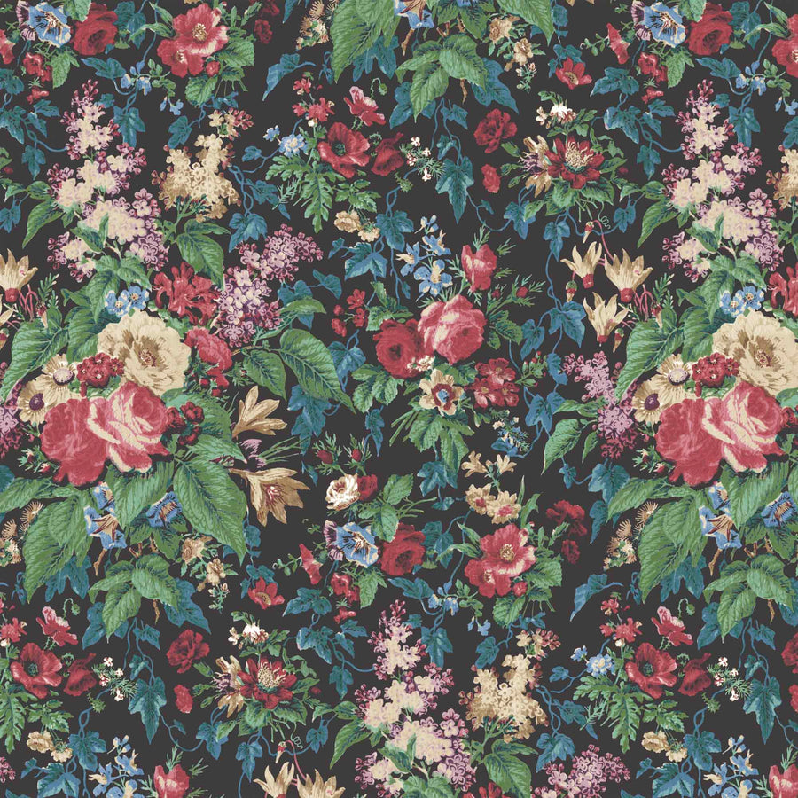 Faded Glamour Noir Floral Wallpaper