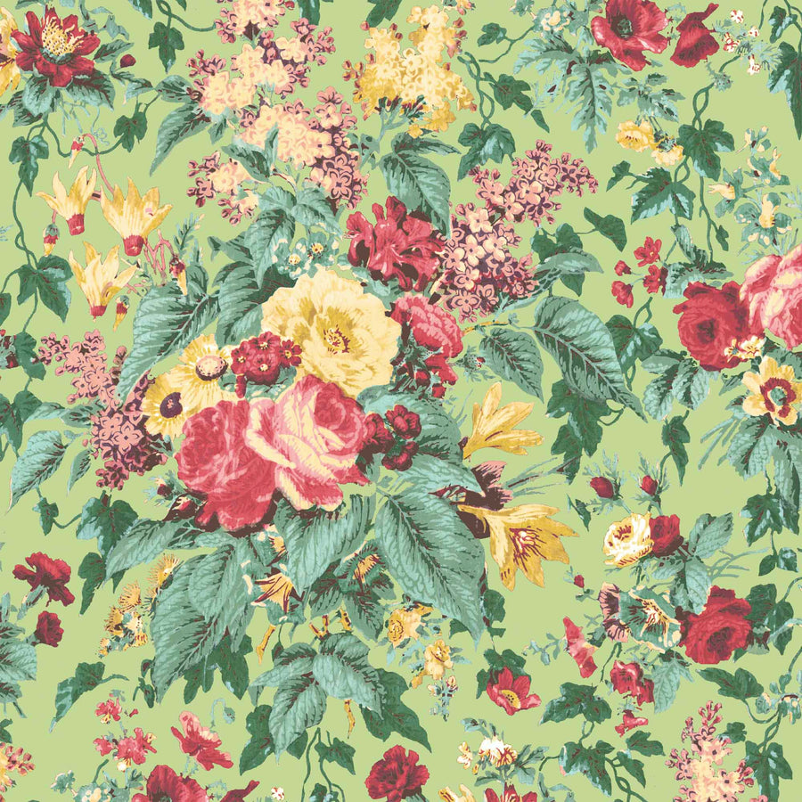 Faded Glamour Vintage Green Floral Wallpaper By Pearl Lowe