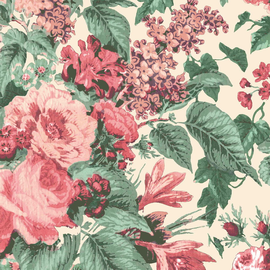 Faded Glamour Oatmeal Floral Wallpaper By Pearl Lowe