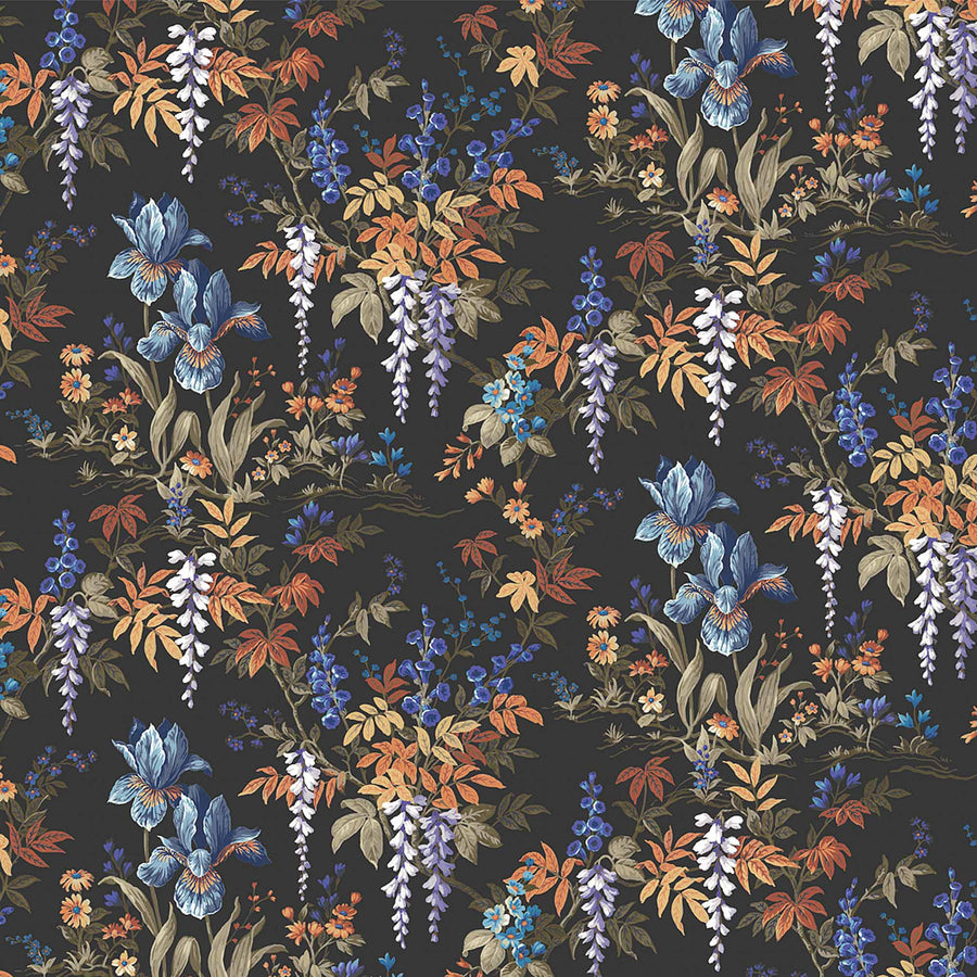 Heista Coal Black Floral Botanical Wallpaper by Woodchip & Magnolia