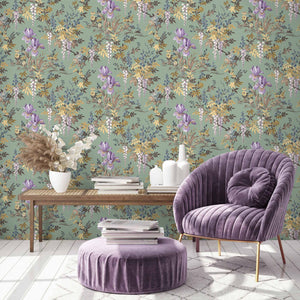 Heista Wild Garlic Green Wallpaper By Woodchip & Magnolia