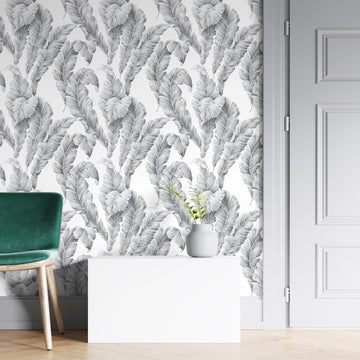 Banana Leaf Dove Grey Wallpaper By Woodchip & Magnolia