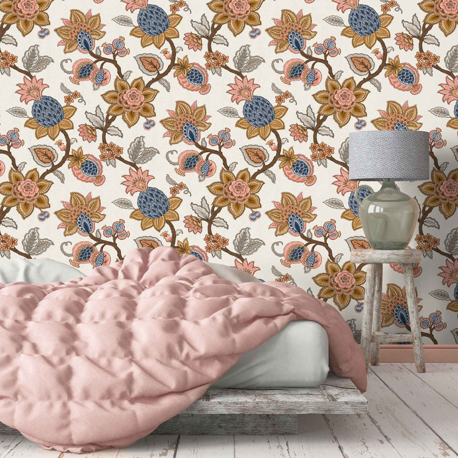 Doris Jacobean Ink Blue Floral Wallpaper By Woodchip & Magnolia
