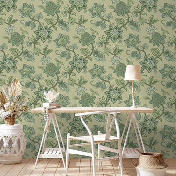 Doris Jacobean Green on Green Wallpaper