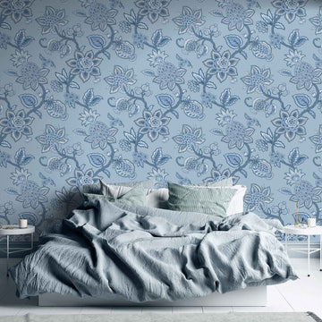 Doris Jacobean Blue on Blue  Wallpaper