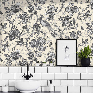 Plumage Charcoal/Cream WallpaperWallpaper By Woodchip & Magnolia