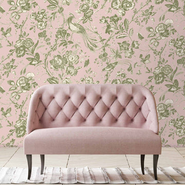 Plumage Plaster Pink/Cream Botanical Bird Wallpaper By Woodchip & Magnolia