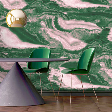 Imagate Gemstone Green Pink Wall Mural