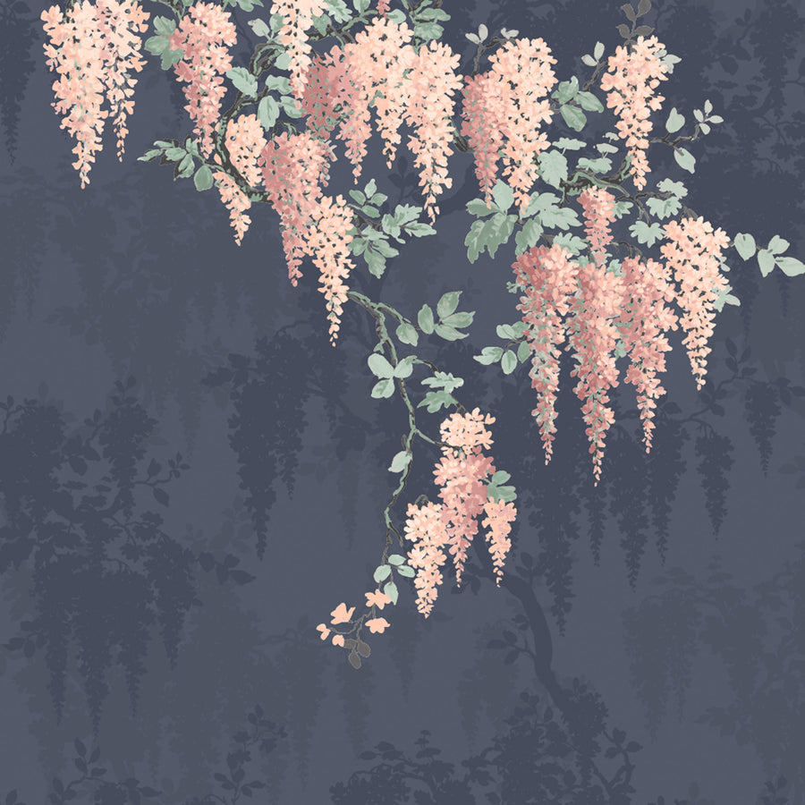 Wisteria Midnight Blue Wall Mural
