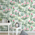 Cacti Green Pink Wallpaper