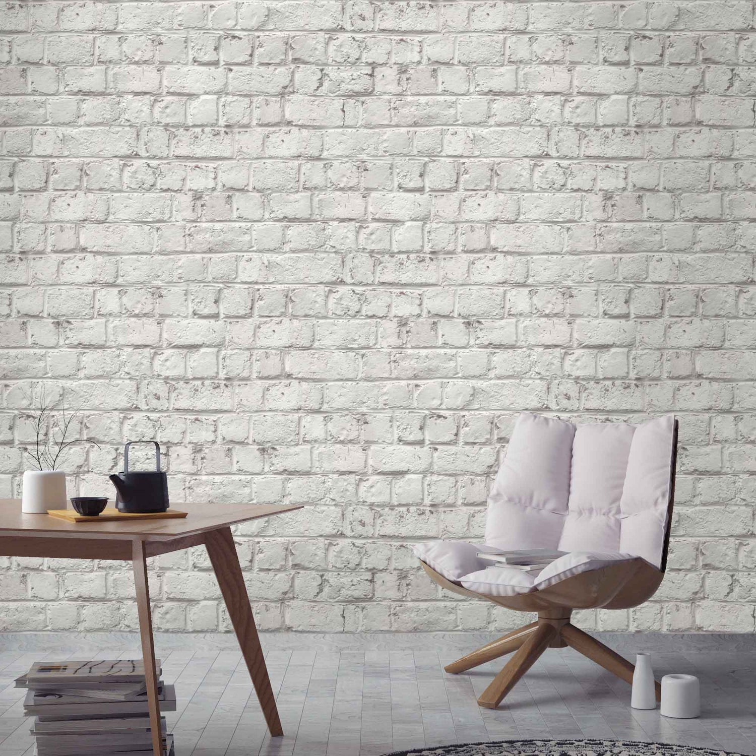 Cracked Painted White Brick Effect Wallpaper