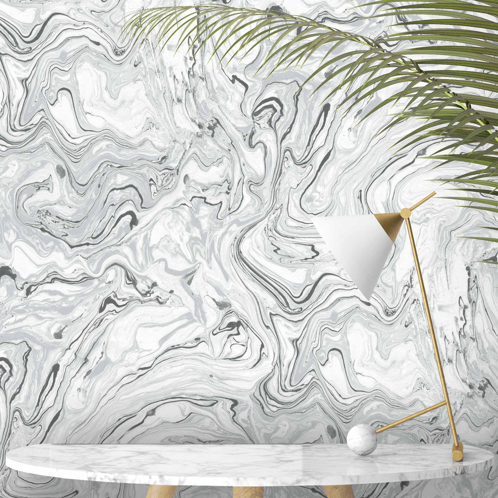 Flow Mono Marble Effect Wallpaper