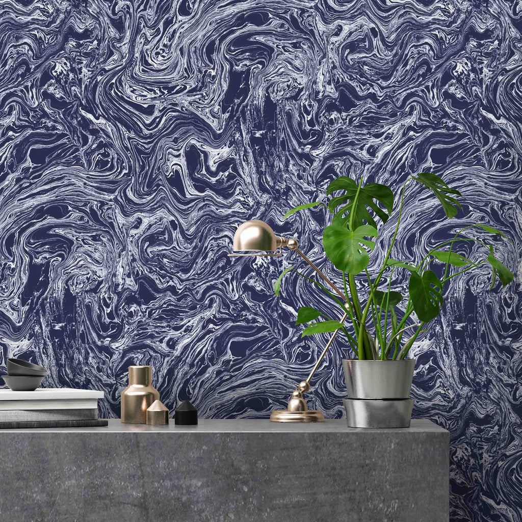 Marbled Flow in ink wallpaper