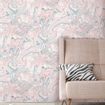Flow Blush & Teal Marbled Effect Wallpaper