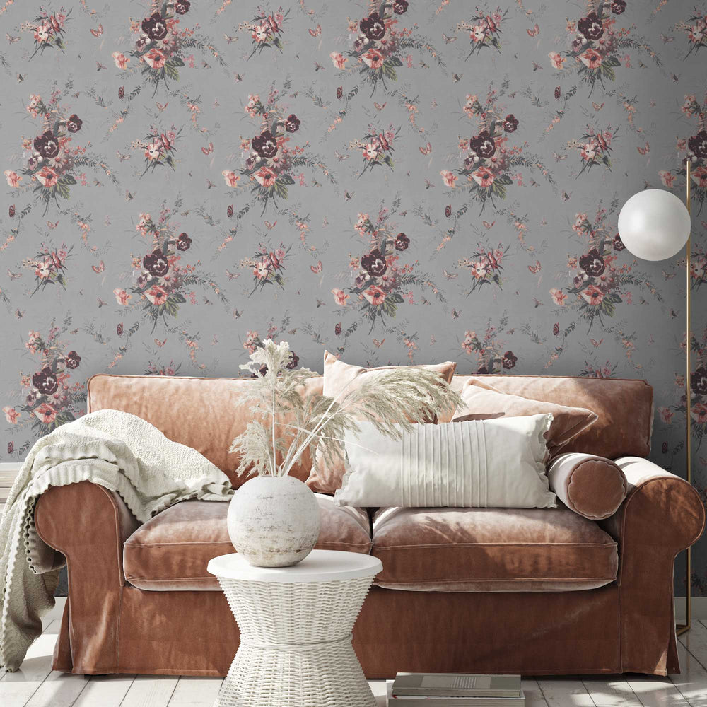 Violas and Butterflies in Grey Wallpaper