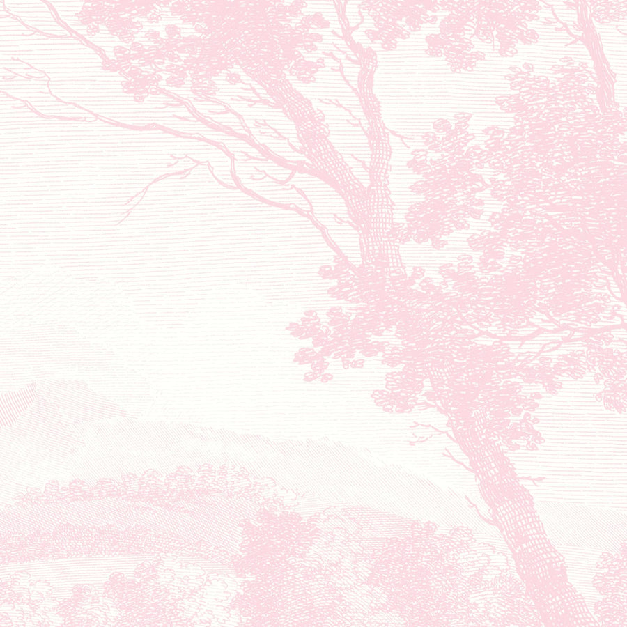 Peaceful Countryside Pink Wall Mural