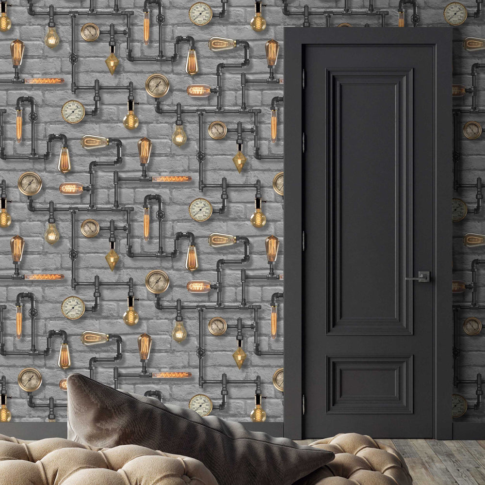 Steampunk Grey Wallpaper