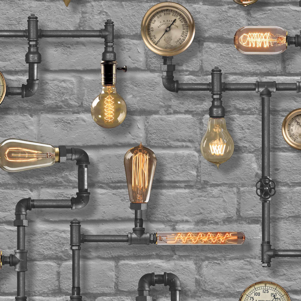 Steampunk Grey Wallpaper by Woodchip & Magnolia