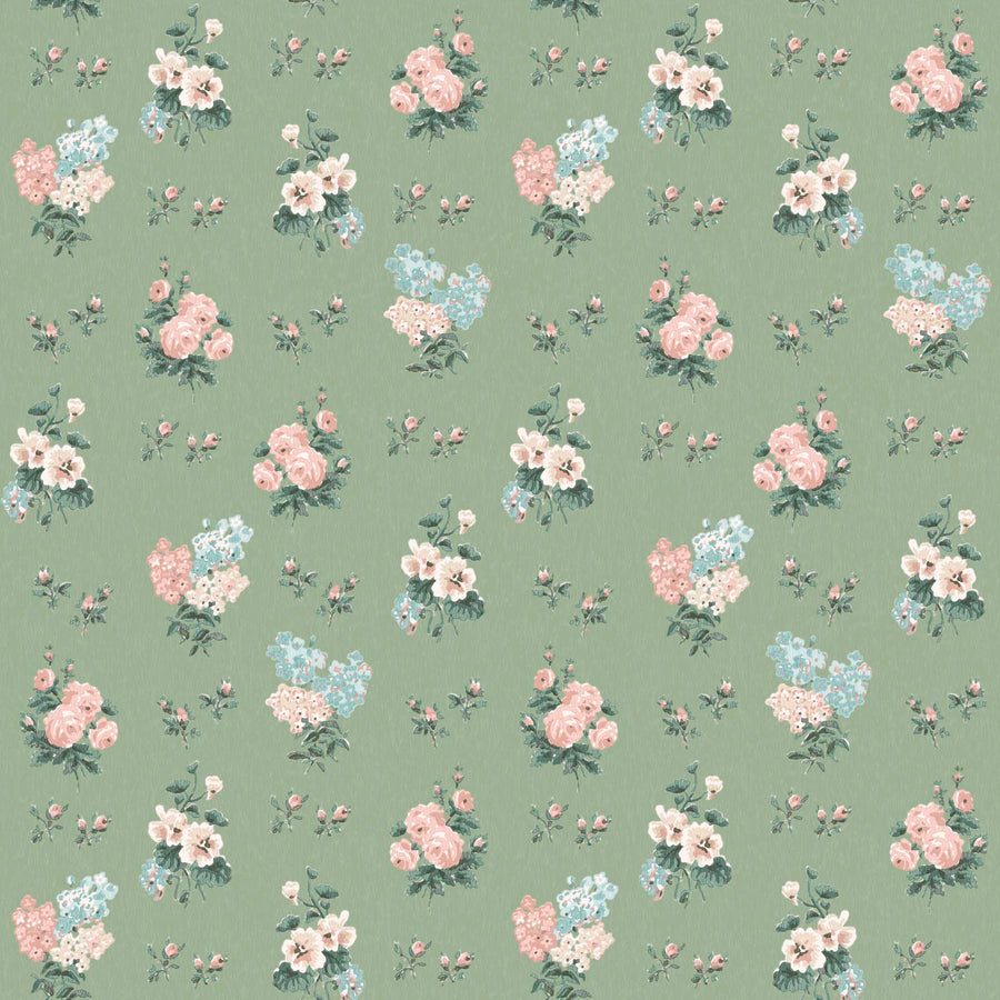 Posies in Woodland Green Wallpaper