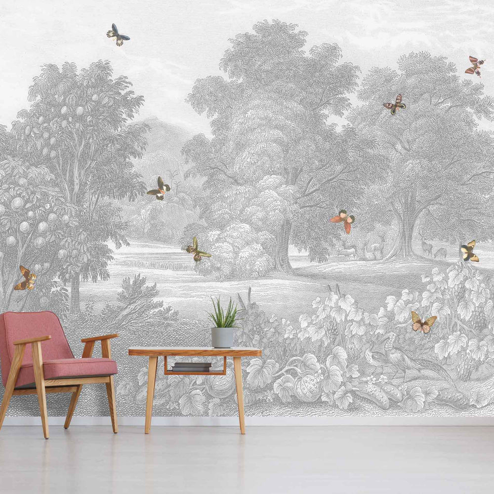 Land of Milk & Honey Butterflies Wallpaper Wall Mural